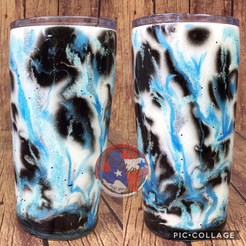 20oz black and light blue marble tumbler