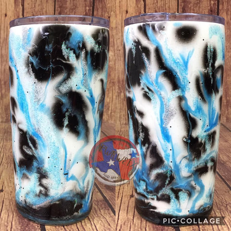20oz black and light blue marble tumbler