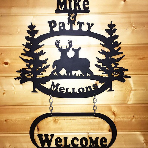'Welcome' Personalized Deer Sign