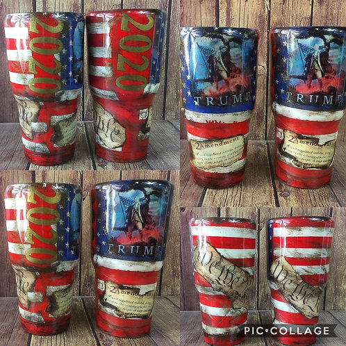 30oz Trump 2020 USA Distressed Flag with We The People and 2nd Amendment