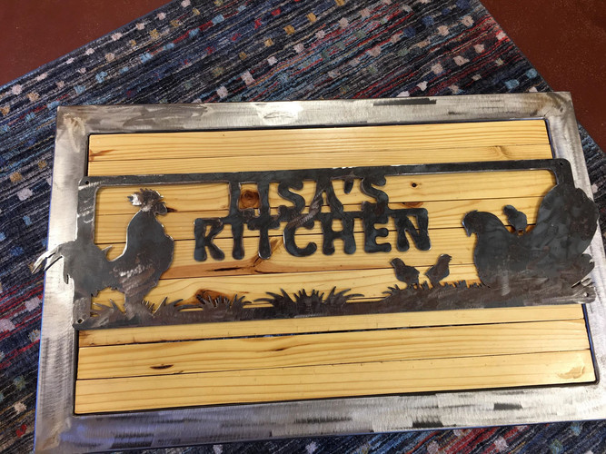 Persnalized Rooster and Hen Kitchen Sign.