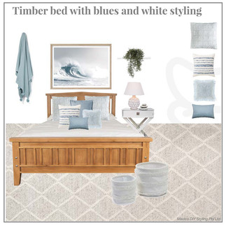 Timber bed with blues and white styling