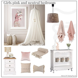 Girls pink and neutral bedroom