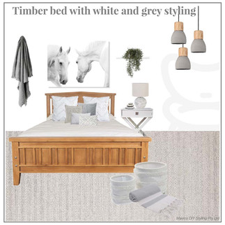 Timber bed with grey and white styling