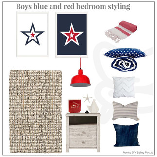 Boys blue and red bedroom styling