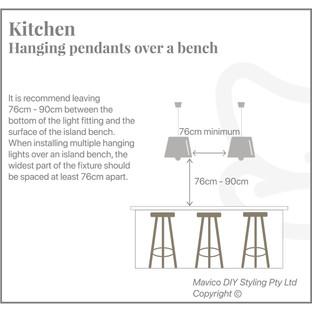 Kitchen hanging pendants over bench