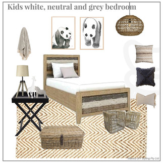 Kids neutral white and grey bedroom styling