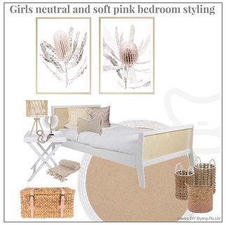 Girls neutral and soft pink bedroom styling