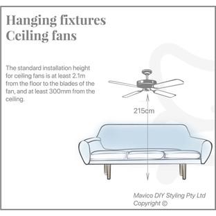 Hanging fixture ceiling fans