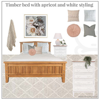 Timber bed with apricot and white styling