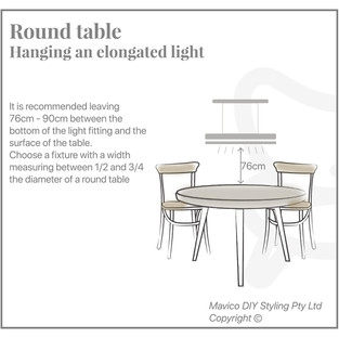 Hanging a elongated ligth over a round table
