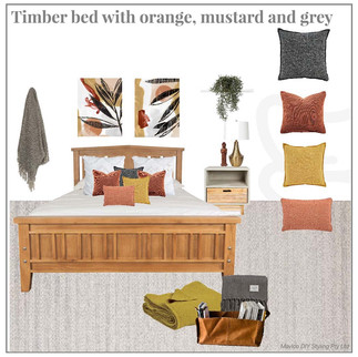 Timber bed with mustard, orange and grey