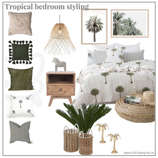 Tropical bedroom styling