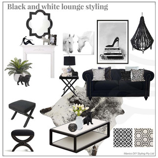 Black and white lounge styling