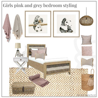 Girls pink and grey panda bedroom styling