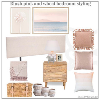 Blush pink and wheat bedroom styling