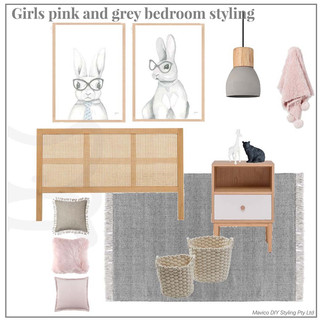 Girls pink and grey bedroom styling