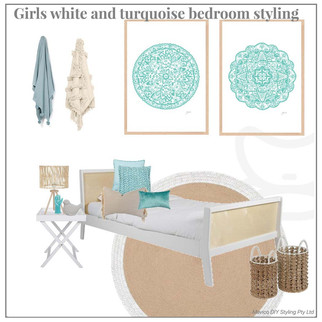 Girls white and turquoise bedroom styling