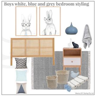 BOys white blue grey bedroom styling