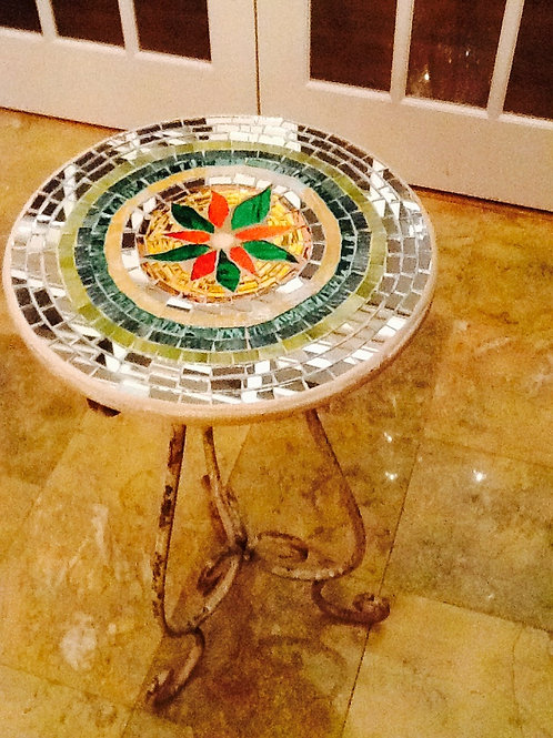 Mosaic Glass Table with Mirrored Insets