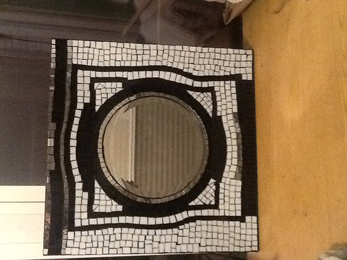 Black and white mosaic glass mirror on solid wood
