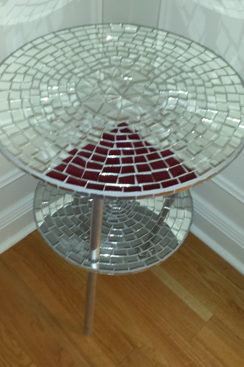 Mirrored Glass Table two tier
