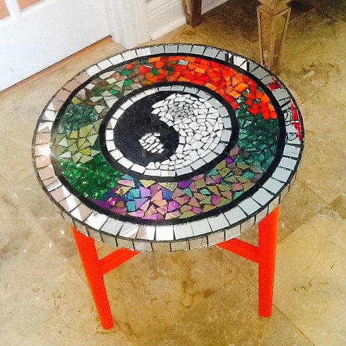 Yin-Yang Mosaic Glass Table