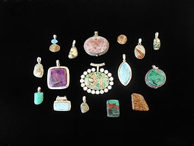 Semi-precious gemstones set in sterling silver