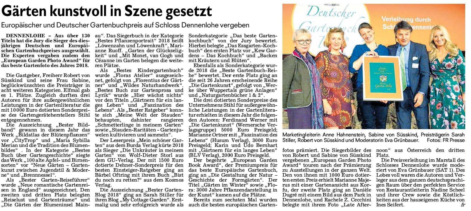 Deutscher Gartenbuchpreis 2018