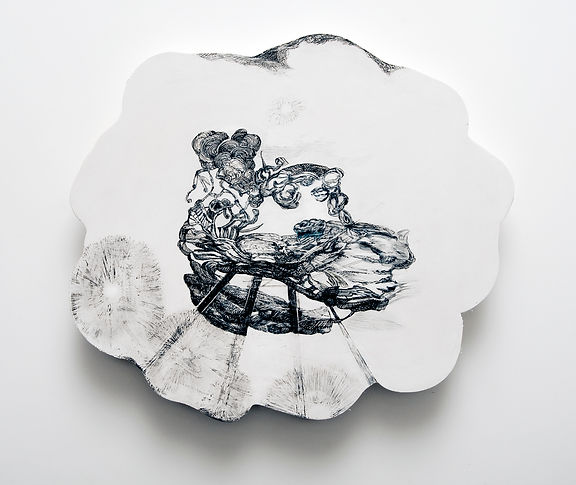 This wall mounted white circular artwork is pen and ink pencil on horizontal and round hydrostone by artist Michelle Marcuse (South Africa to Philadelphia, PA)