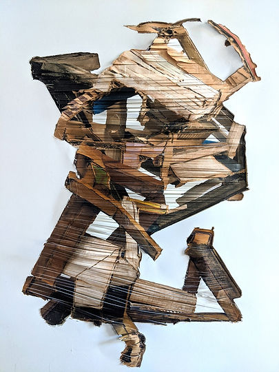 This is a layered, digital print assemblage of a sculpture by contemporary artist Michelle Marcuse. It is layered nad uses horizontal lines, and references the structures of South Africa.
