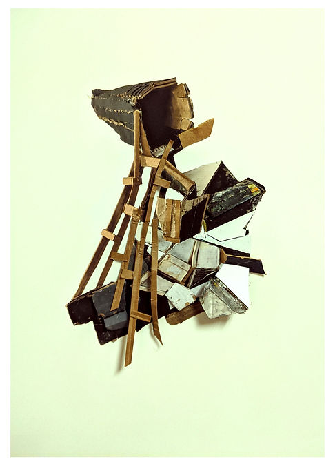 This print assemblage by contemporary abstract artist Michelle Marcuse (South Africa to Philadelphia, PA) uses watercolor pencils, graphic, and cardboard to represent architectural elements.