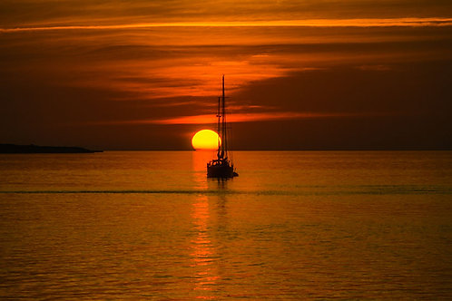 Bahama Sunset II | A sailboat watches the sunset in the Bahamas | Sunset Photo Print | Tammy Riegel Photography