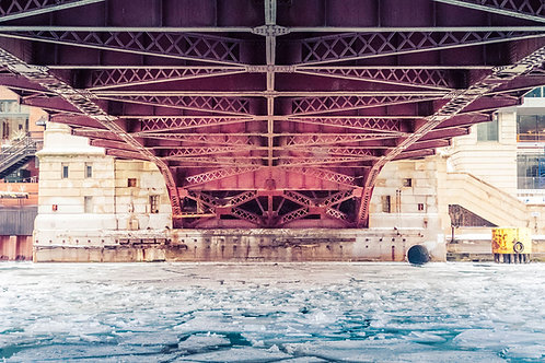 Bridge Over Icy Water | Chicago Draw Bridge Over the Chicago River | Chicago Photo Print | Tammy Riegel Photography