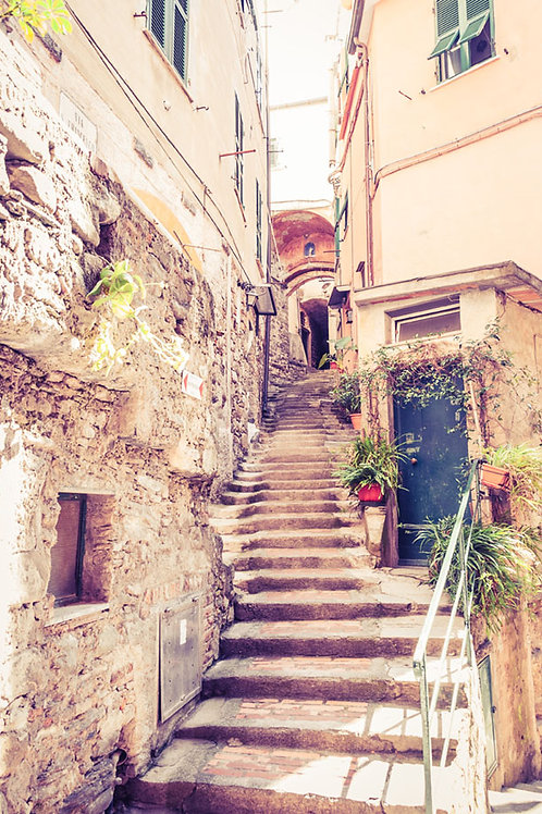 Stairway to Cinque Terre | Stairway in Vernazza Italy | Cinque Terre Photo Print | Tammy Riegel Photography