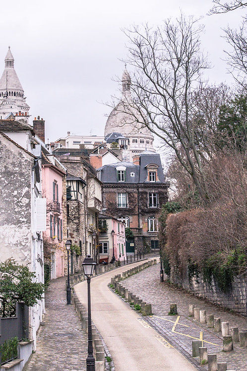 Streets of Montmartre | Rue de l'Abreuvoir and Sacre Couer in Montmartre Paris | Paris Photo Print | Tammy Riegel Photography