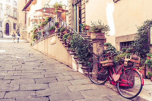 Red Bicycle in Tuscany | Red Bicycle on a Cobblestone Street in Cortona | Tuscany Photo Print | Tammy Riegel Photography