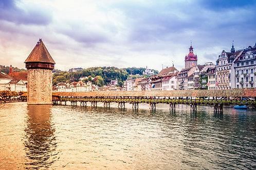 Chapel Bridge | Chapel Bridge in Lucerne Switzerland | Lucerne Photo Print | Tammy Riegel Photography