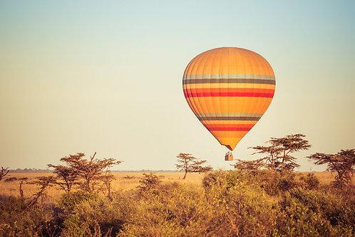 Serengeti Balloon Ride   Hot Air Balloon in the Serengeti Tanzania   Landscape Photo Print   Tammy Riegel Photography