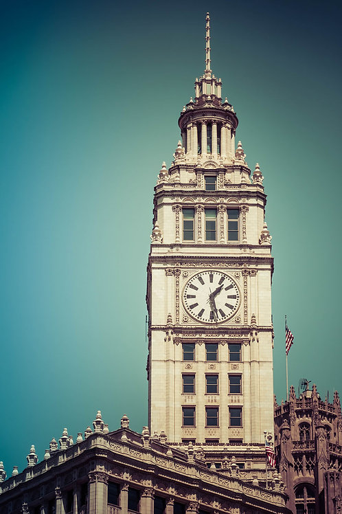 Clock Tower | Wrigley Building Clock Tower in Chicago | Chicago Photo Print | Tammy Riegel Photography