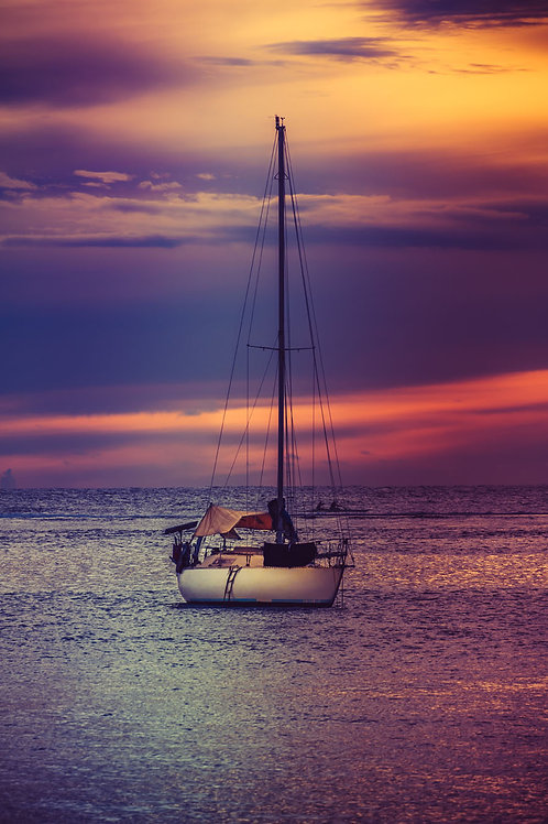 Sunset Sail | Sunset behind a sailboat in Papeete Tahiti | Sunset Photo Print | Tammy Riegel Photography