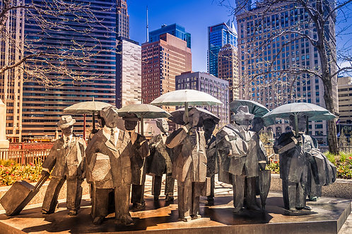 Rainy in the City | Statues with Umbrellas in Chicago | Chicago Photo Print | Tammy Riegel Photography