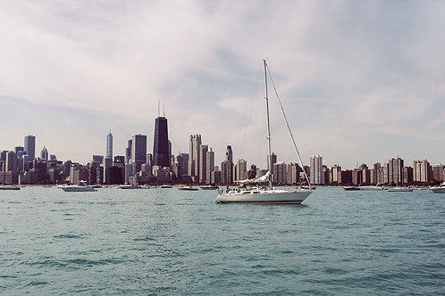 Sailing Through Chicago | Sailboat in Lake Michigan and the Chicago Skyline | Chicago Photo Print | Tammy Riegel Photography