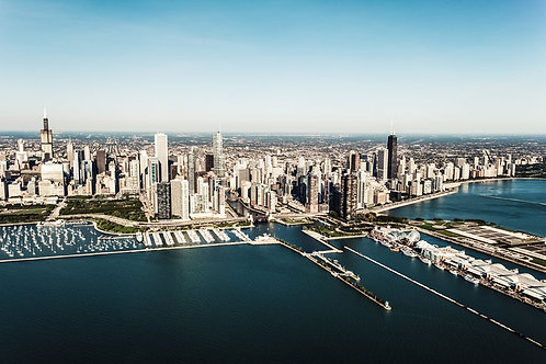 Chicago Skyline   Aerial View of the Chicago Skyline   Chicago Photo Print   Tammy Riegel Photography