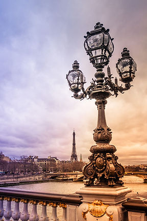 Eiffel Tower and Pont Alexandre III bridge in Paris France