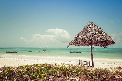 Zanzibar Beach   Tiki umbrella and outrigger fishing canoes on a beach in Zanzibar Tanzania   Tammy Riegel Photography