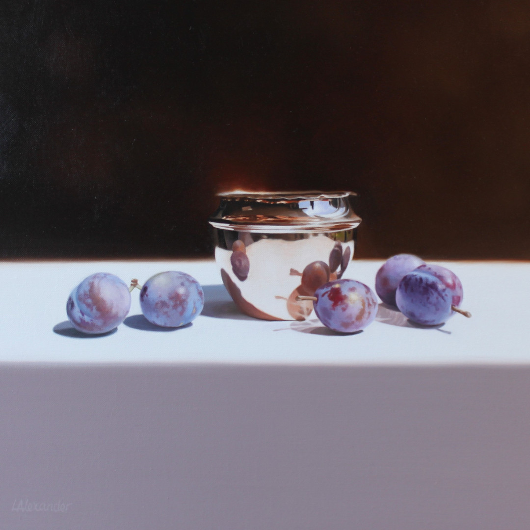 'COPPER POT AND PLUMS'