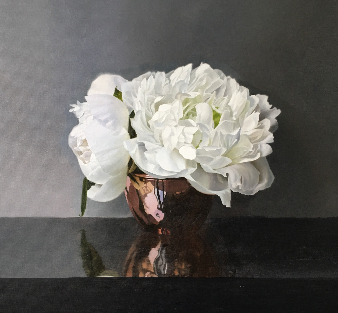 'WHITE PEONIES AND COOPER POT'