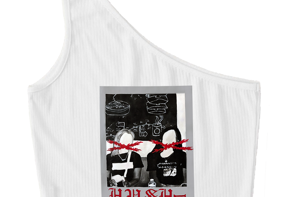 'Friendship X' White  Polaroid Tank