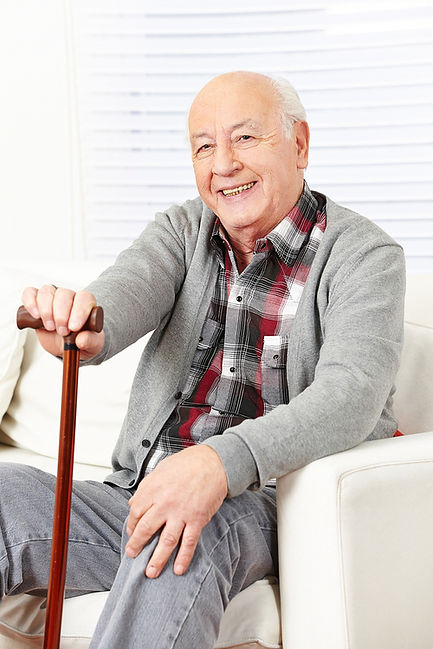 Frail elderly man living in his own home alone